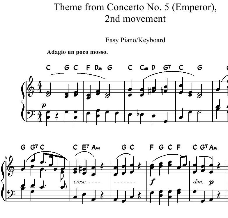 Theme from Beethoven's Emperor Concerto arr. Easy Piano/Keyboard