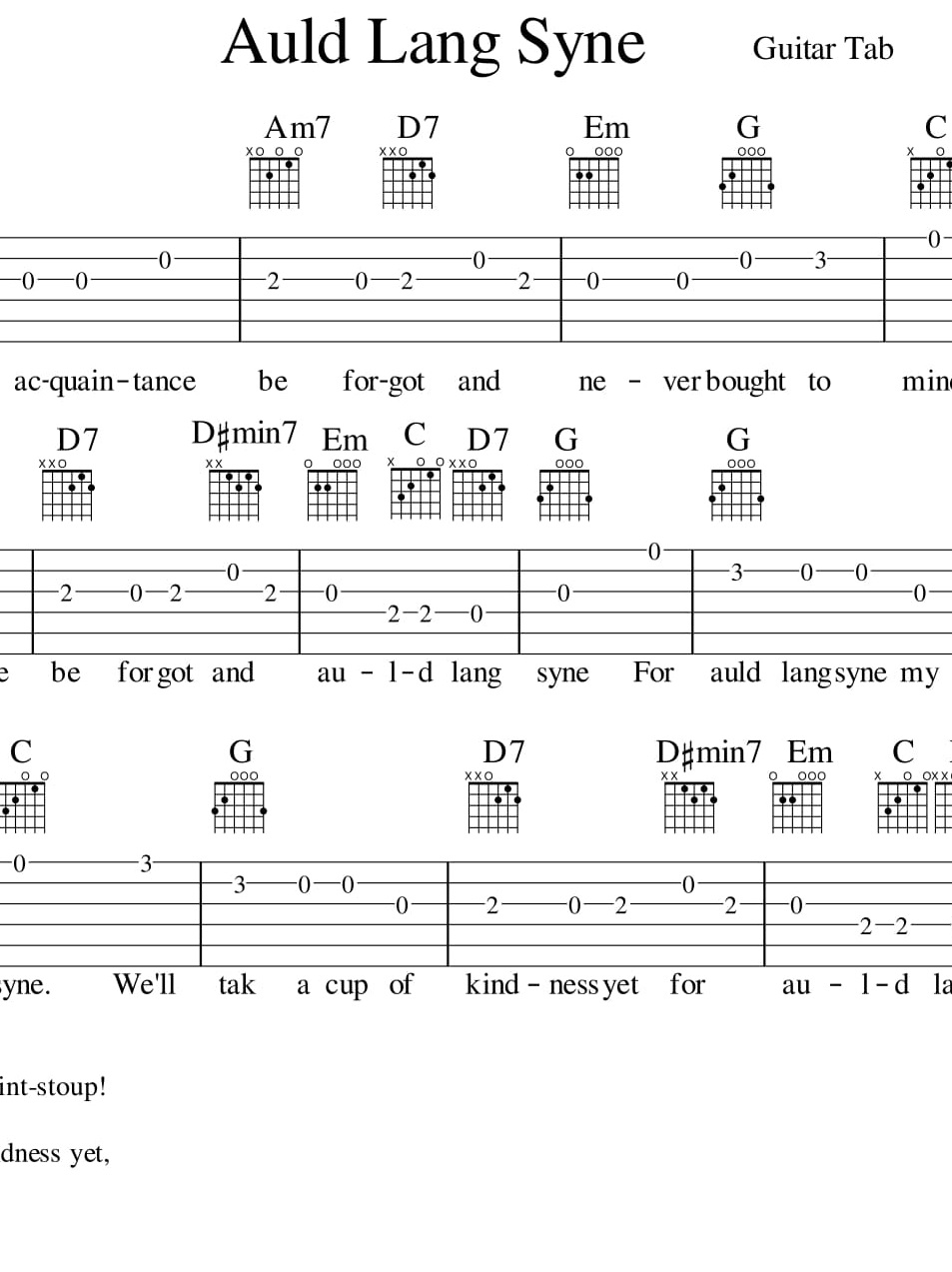 Auld Lang Syne For Guitar Tab