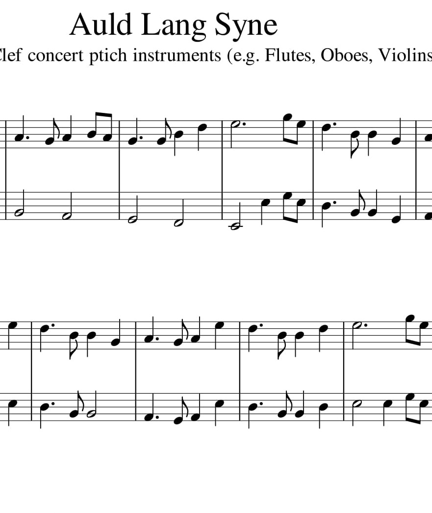 Auld Lang Syne Duet For Treble Clef Concert Pitch Instruments
