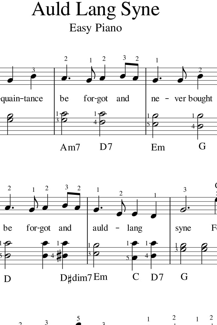 Auld Lang Syne For Easy Pianokeyboard